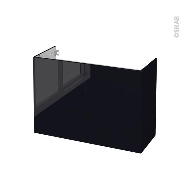 Meuble de salle de bains - Sous vasque - KERIA Noir - 2 portes - Côtés décors - L100 x H70 x P40 cm