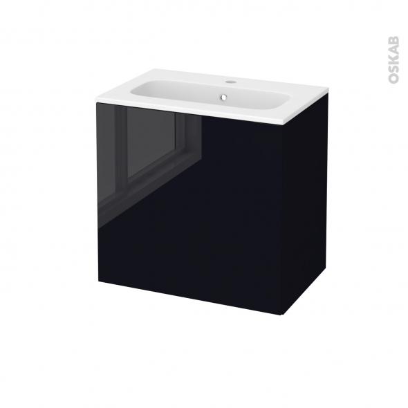 Meuble de salle de bains - Plan vasque REZO - KERIA Noir - 1 porte - Côtés décors - L60,5 x H58,5 x P40,5 cm