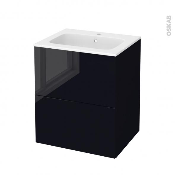 Meuble de salle de bains - Plan vasque REZO - KERIA Noir - 2 tiroirs - Côtés décors - L60,5 x H71,5 x P50,5 cm