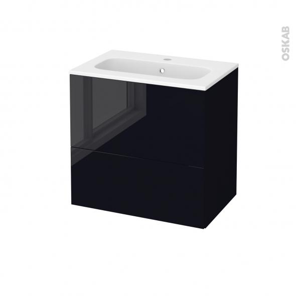 Meuble de salle de bains - Plan vasque REZO - KERIA Noir - 2 tiroirs - Côtés décors - L60,5 x H58,5 x P40,5 cm