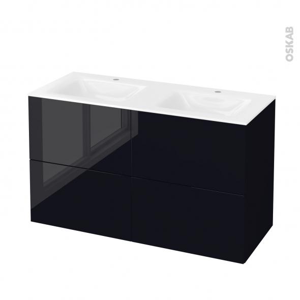 Meuble de salle de bains - Plan double vasque VALA - KERIA Noir - 4 tiroirs - Côtés décors - L120,5 x H71,2 x P50,5 cm