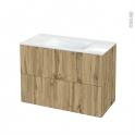 Meuble de salle de bains - Plan vasque VALA - OKA Chêne - 2 tiroirs - Côtés décors - L100,5 x H71,2 x P50,5 cm