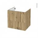 Meuble de salle de bains - Sous vasque - OKA Chêne - 2 tiroirs - Côtés décors - L60 x H57 x P50 cm