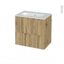 Meuble de salle de bains - Plan vasque REZO - OKA Chêne - 2 tiroirs - Côtés décors - L60,5 x H58,5 x P40,5 cm