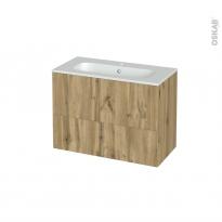 Meuble de salle de bains - Plan vasque REZO - OKA Chêne - 2 tiroirs - Côtés décors - L80.5 x H58.5 x P40.5 cm