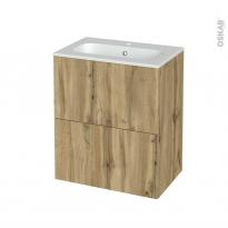 Meuble de salle de bains - Plan vasque REZO - OKA Chêne - 2 tiroirs - Côtés décors - L60,5 x H71,5 x P40,5 cm