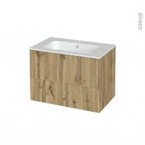 Meuble de salle de bains - Plan vasque REZO - OKA Chêne - 2 tiroirs - Côtés décors - L80.5 x H58.5 x P50.5 cm