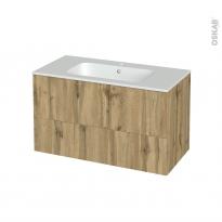 Meuble de salle de bains - Plan vasque REZO - OKA Chêne - 2 tiroirs - Côtés décors - L100,5 x H58,5 x P50,5 cm