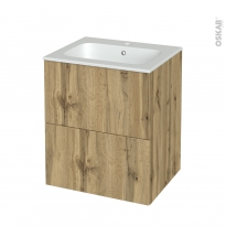 Meuble de salle de bains - Plan vasque REZO - OKA Chêne - 2 tiroirs - Côtés décors - L60,5 x H71,5 x P50,5 cm