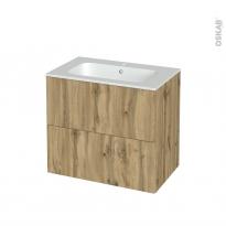 Meuble de salle de bains - Plan vasque REZO - OKA Chêne - 2 tiroirs - Côtés décors - L80.5 x H71.5 x P50.5 cm