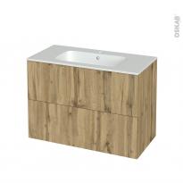 Meuble de salle de bains - Plan vasque REZO - OKA Chêne - 2 tiroirs - Côtés décors - L100,5 x H71,5 x P50,5 cm