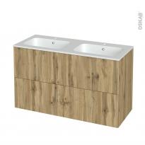 Meuble de salle de bains - Plan double vasque REZO - OKA Chêne - 4 tiroirs - Côtés décors - L120,5 x H71,5 x P50,5 cm