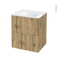 Meuble de salle de bains - Plan vasque VALA - OKA Chêne - 2 tiroirs - Côtés décors - L60,5 x H71,2 x P50,5 cm