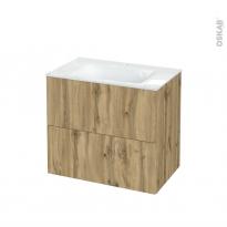 Meuble de salle de bains - Plan vasque VALA - OKA Chêne - 2 tiroirs - Côtés décors - L80.5 x H71.2 x P50.5 cm