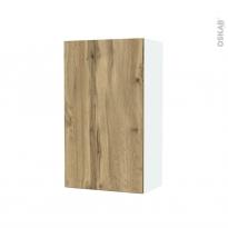 Armoire de salle de bains - Rangement haut - OKA Chêne - 1 porte - Côtés blancs - L40 x H70 x P27 cm
