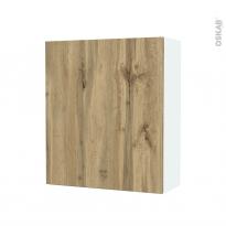 Armoire de salle de bains - Rangement haut - OKA Chêne - 1 porte - Côtés blancs - L60 x H70 x P27 cm