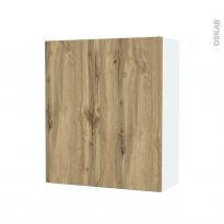 Armoire de salle de bains - Rangement haut - OKA Chêne - 2 portes - Côtés blancs - L60 x H70 x P27 cm