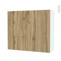 Armoire de salle de bains - Rangement haut - OKA Chêne - 2 portes - Côtés blancs - L80 x H70 x P27 cm