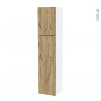 Colonne de salle de bains - 2 portes - OKA Chêne - Côtés blancs - Version A - L40 x H182 x P40 cm