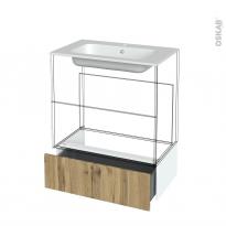 Tiroir sous meuble - Socle n°101 - OKA Chêne - pour meuble salle de bains - L80 x H26 x P45 cm