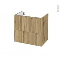 Meuble de salle de bains - Sous vasque - OKA Chêne - 2 tiroirs - Côtés décors - L60 x H57 x P40 cm