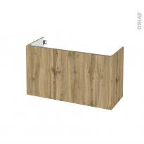 Meuble de salle de bains - Sous vasque - OKA Chêne - 2 portes - Côtés décors - L100 x H57 x P40 cm