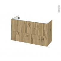 Meuble de salle de bains - Sous vasque - OKA Chêne - 2 tiroirs - Côtés décors - L100 x H57 x P40 cm