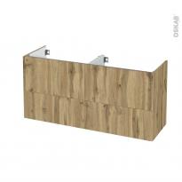 Meuble de salle de bains - Sous vasque double - OKA Chêne - 4 tiroirs - Côtés décors - L120 x H57 x P40 cm
