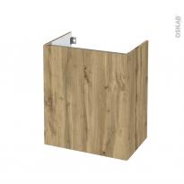 Meuble de salle de bains - Sous vasque - OKA Chêne - 2 portes - Côtés décors - L60 x H70 x P40 cm