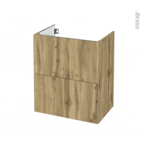 Meuble de salle de bains - Sous vasque - OKA Chêne - 2 tiroirs - Côtés décors - L60 x H70 x P40 cm
