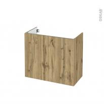 Meuble de salle de bains - Sous vasque - OKA Chêne - 2 portes - Côtés décors - L80 x H70 x P40 cm
