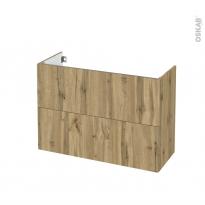 Meuble de salle de bains - Sous vasque - OKA Chêne - 2 tiroirs - Côtés décors - L100 x H70 x P40 cm
