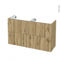 Meuble de salle de bains - Sous vasque double - OKA Chêne - 4 tiroirs - Côtés décors - L120 x H70 x P40 cm