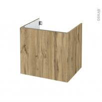 Meuble de salle de bains - Sous vasque - OKA Chêne - 1 porte - Côtés décors - L60 x H57 x P50 cm