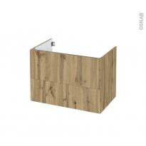 Meuble de salle de bains - Sous vasque - OKA Chêne - 2 tiroirs - Côtés décors - L80 x H57 x P50 cm