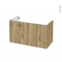Meuble de salle de bains - Sous vasque - OKA Chêne - 2 portes - Côtés décors - L100 x H57 x P50 cm