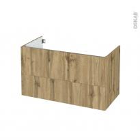 Meuble de salle de bains - Sous vasque - OKA Chêne - 2 tiroirs - Côtés décors - L100 x H57 x P50 cm