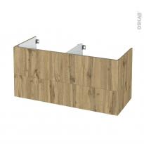 Meuble de salle de bains - Sous vasque double - OKA Chêne - 4 tiroirs - Côtés décors - L120 x H57 x P50 cm