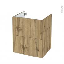 Meuble de salle de bains - Sous vasque - OKA Chêne - 2 tiroirs - Côtés décors - L60 x H70 x P50 cm