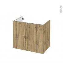 Meuble de salle de bains - Sous vasque - OKA Chêne - 2 portes - Côtés décors - L80 x H70 x P50 cm