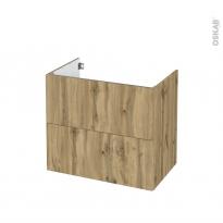 Meuble de salle de bains - Sous vasque - OKA Chêne - 2 tiroirs - Côtés décors - L80 x H70 x P50 cm