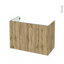 Meuble de salle de bains - Sous vasque - OKA Chêne - 2 portes - Côtés décors - L100 x H70 x P50 cm