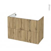Meuble de salle de bains - Sous vasque - OKA Chêne - 2 tiroirs - Côtés décors - L100 x H70 x P50 cm