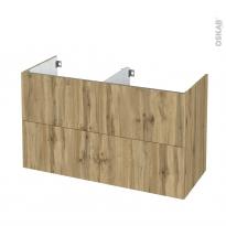 Meuble de salle de bains - Sous vasque double - OKA Chêne - 4 tiroirs - Côtés décors - L120 x H70 x P50 cm