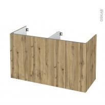 Meuble de salle de bains - Sous vasque double - OKA Chêne - 4 portes - Côtés décors - L120 x H70 x P50 cm