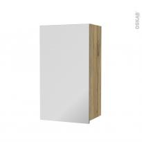 Armoire de salle de bains - Rangement haut - OKA Chêne - 1 porte miroir - Côtés décors - L40 x H70 x P27 cm
