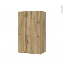 Armoire de salle de bains - Rangement haut - OKA Chêne - 1 porte - Côtés décors - L40 x H70 x P27 cm