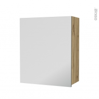 Armoire de salle de bains - Rangement haut - OKA Chêne - 1 porte miroir - Côtés décors - L60 x H70 x P27 cm