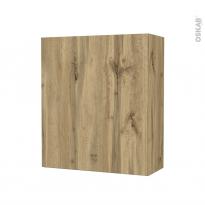 Armoire de salle de bains - Rangement haut - OKA Chêne - 1 porte - Côtés décors - L60 x H70 x P27 cm