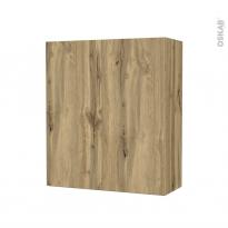 Armoire de salle de bains - Rangement haut - OKA Chêne - 2 portes - Côtés décors - L60 x H70 x P27 cm